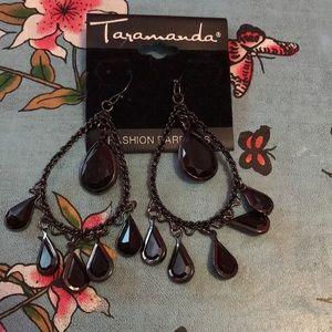 Taramanda Black Teardrop Chandelier Earrings